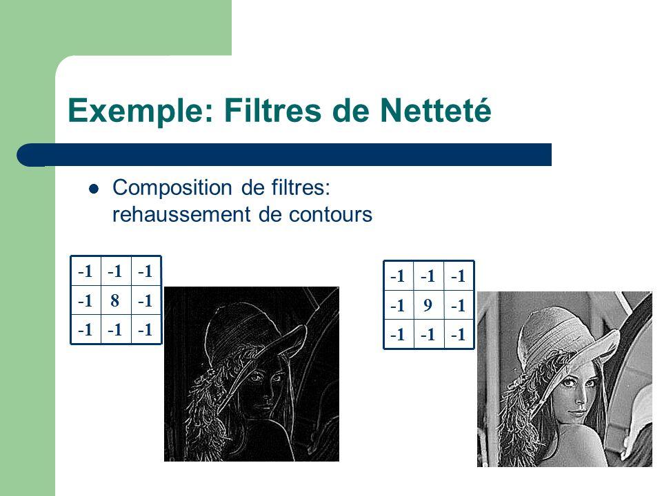 Exemple: Filtres de Netteté 8 9 Composition de filtres: rehaussement de contours