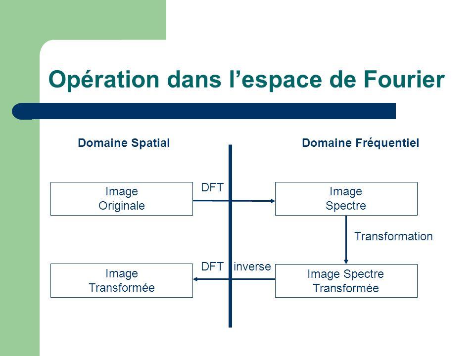Opération dans lespace de Fourier Domaine SpatialDomaine Fréquentiel Image Originale Image Spectre Image Spectre Transformée Image Transformée DFT DFT inverse Transformation