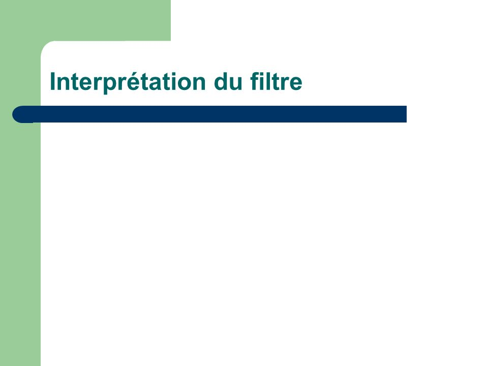 Interprétation du filtre