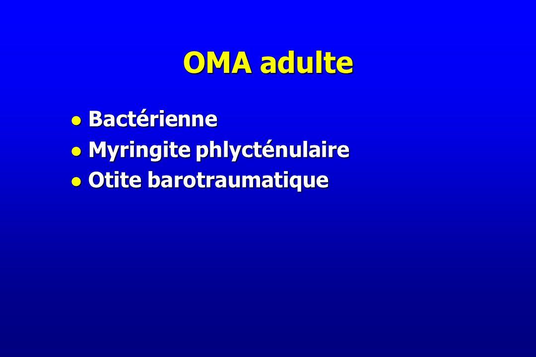OMA adulte l Bactérienne l Myringite phlycténulaire l Otite barotraumatique