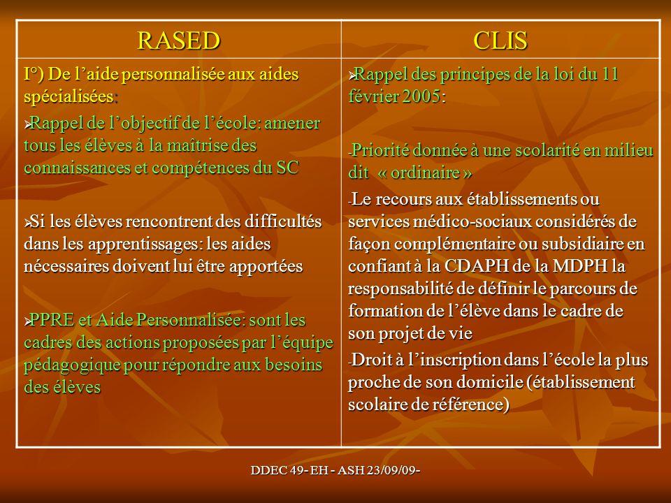 DDEC 49- EH - ASH 23/09/09- RASEDCLIS I°) De laide personnalisée aux aides spécialisées: Rappel de lobjectif de lécole: amener tous les élèves à la ma