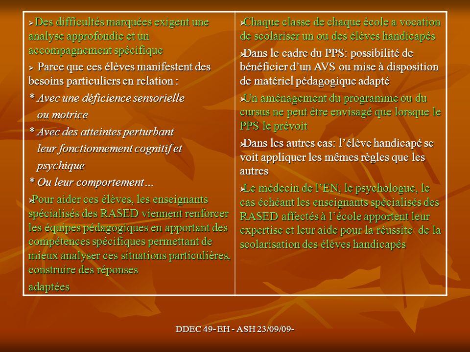 DDEC 49- EH - ASH 23/09/09- Des difficultés marquées exigent une analyse approfondie et un accompagnement spécifique Des difficultés marquées exigent