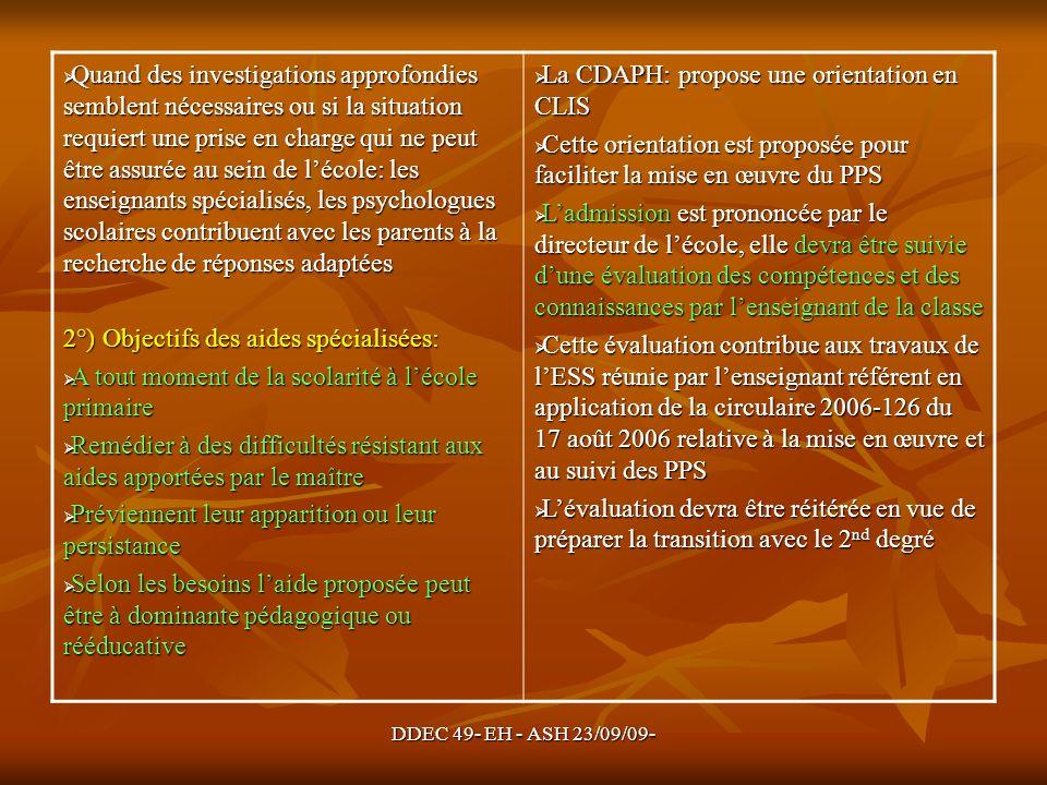 DDEC 49- EH - ASH 23/09/09- Quand des investigations approfondies semblent nécessaires ou si la situation requiert une prise en charge qui ne peut êtr
