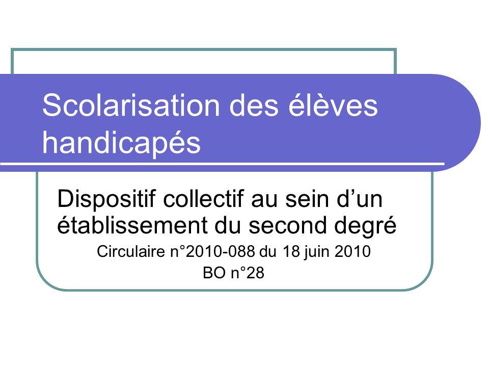 Scolarisation des élèves handicapés Dispositif collectif au sein dun établissement du second degré Circulaire n°2010-088 du 18 juin 2010 BO n°28