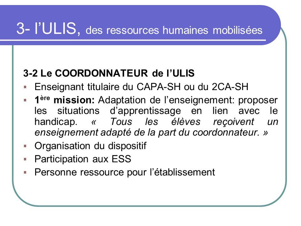 3- lULIS, des ressources humaines mobilisées 3-2 Le COORDONNATEUR de lULIS Enseignant titulaire du CAPA-SH ou du 2CA-SH 1 ère mission: Adaptation de l