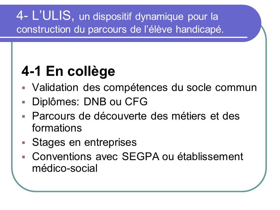 4- LULIS, un dispositif dynamique pour la construction du parcours de lélève handicapé. 4-1 En collège Validation des compétences du socle commun Dipl
