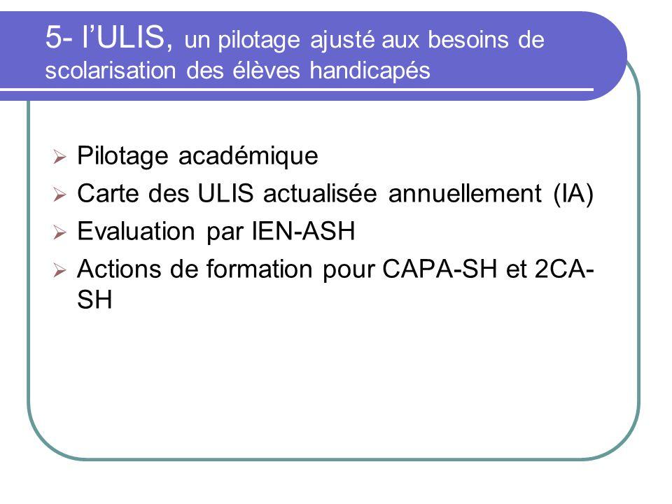 5- lULIS, un pilotage ajusté aux besoins de scolarisation des élèves handicapés Pilotage académique Carte des ULIS actualisée annuellement (IA) Evalua