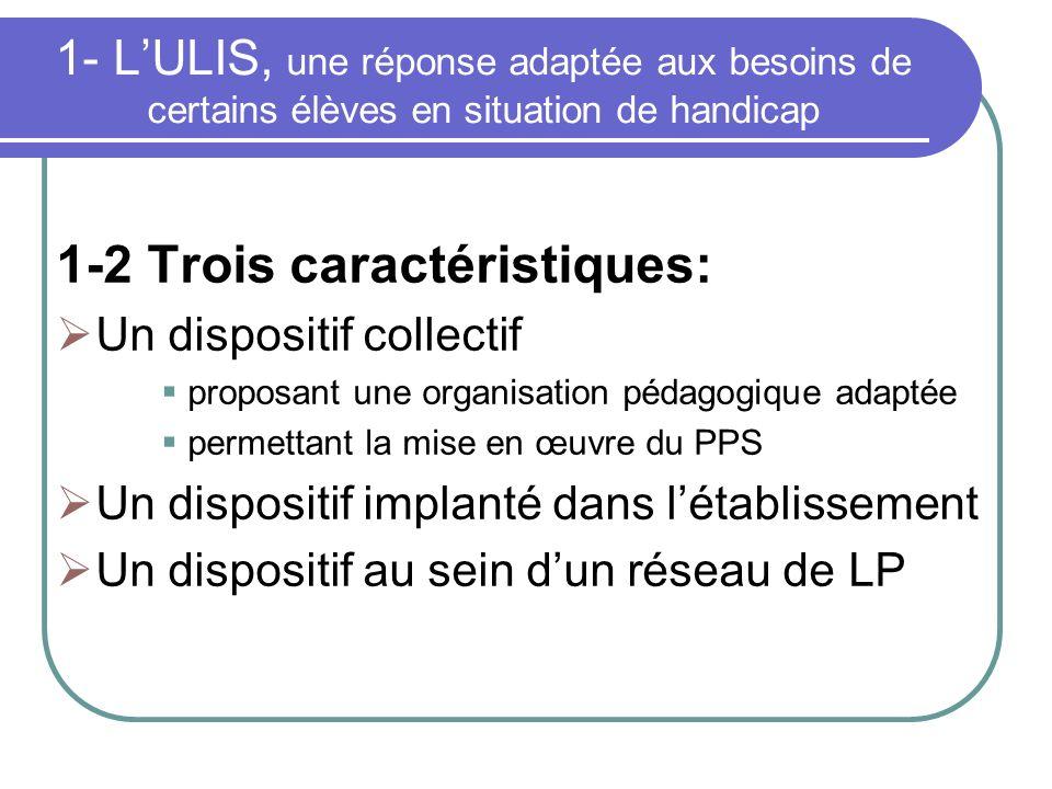 1- LULIS, une réponse adaptée aux besoins de certains élèves en situation de handicap 1-2 Trois caractéristiques: Un dispositif collectif proposant un