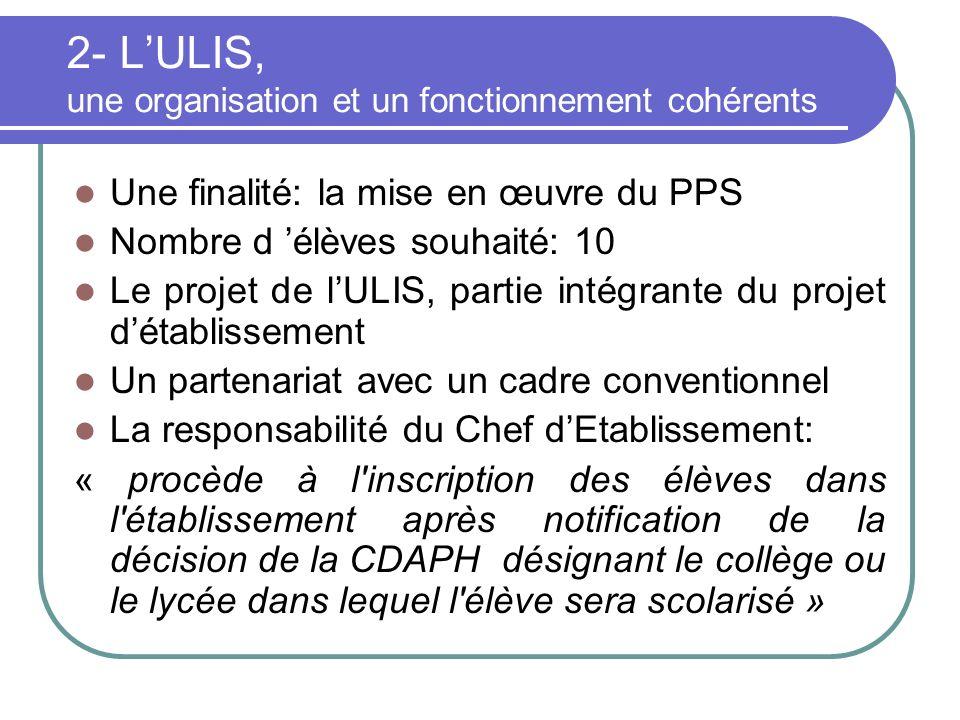 2- LULIS, une organisation et un fonctionnement cohérents Une finalité: la mise en œuvre du PPS Nombre d élèves souhaité: 10 Le projet de lULIS, parti