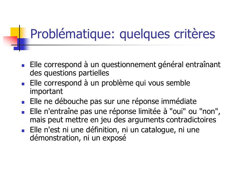 Problématique: quelques critères Elle correspond à un questionnement général entraînant des questions partielles Elle correspond à un problème qui vou