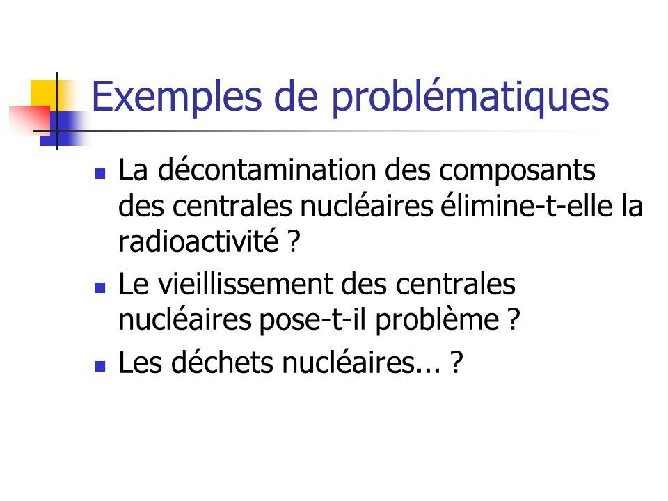 Exemples de problématiques La décontamination des composants des centrales nucléaires élimine-t-elle la radioactivité ? Le vieillissement des centrale