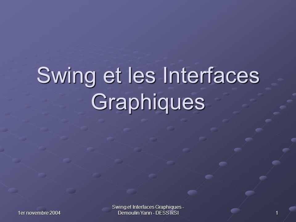 121er novembre 2004 Swing et Interfaces Graphiques - Demoulin Yann - DESS RSI Layout et les containers Pour positionner un composant, nous avons plusieurs positions prédéfinis.