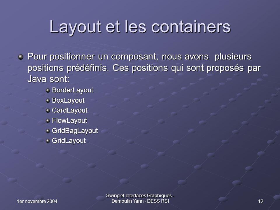 121er novembre 2004 Swing et Interfaces Graphiques - Demoulin Yann - DESS RSI Layout et les containers Pour positionner un composant, nous avons plusi