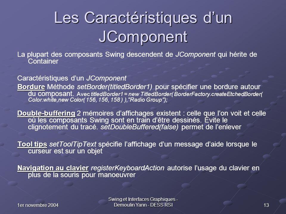 131er novembre 2004 Swing et Interfaces Graphiques - Demoulin Yann - DESS RSI Les Caractéristiques dun JComponent La plupart des composants Swing desc