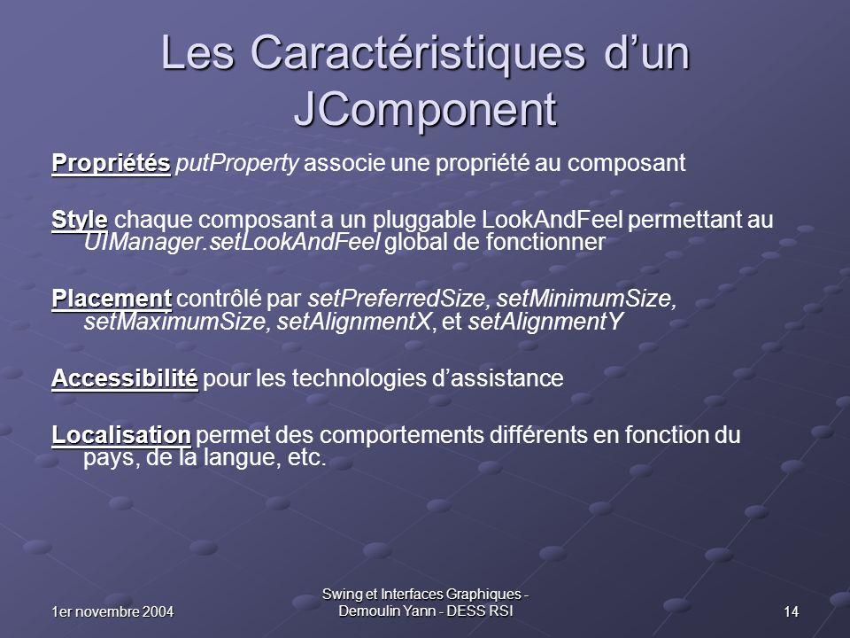 141er novembre 2004 Swing et Interfaces Graphiques - Demoulin Yann - DESS RSI Les Caractéristiques dun JComponent Propriétés Propriétés putProperty as