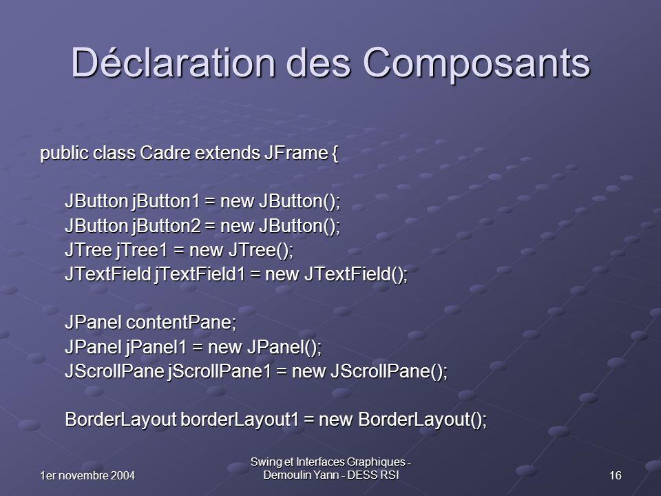 161er novembre 2004 Swing et Interfaces Graphiques - Demoulin Yann - DESS RSI Déclaration des Composants public class Cadre extends JFrame { JButton j