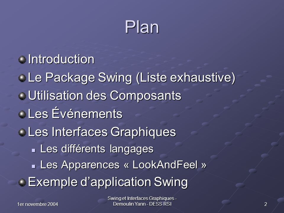 21er novembre 2004 Swing et Interfaces Graphiques - Demoulin Yann - DESS RSI Plan Introduction Le Package Swing (Liste exhaustive) Utilisation des Com