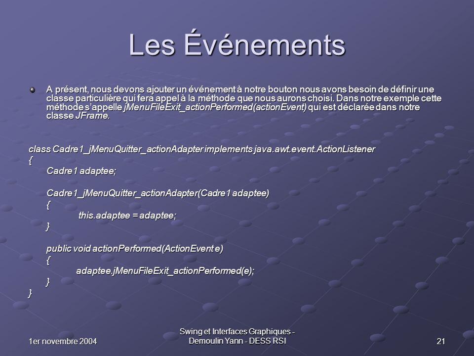 211er novembre 2004 Swing et Interfaces Graphiques - Demoulin Yann - DESS RSI Les Événements A présent, nous devons ajouter un événement à notre bouto