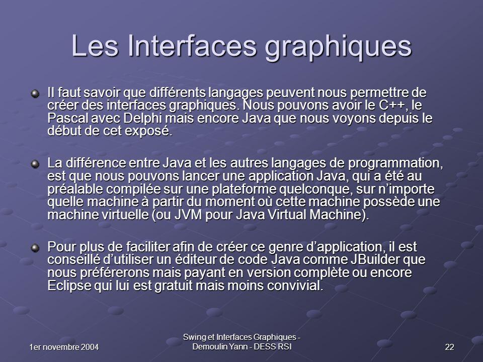 221er novembre 2004 Swing et Interfaces Graphiques - Demoulin Yann - DESS RSI Les Interfaces graphiques Il faut savoir que différents langages peuvent