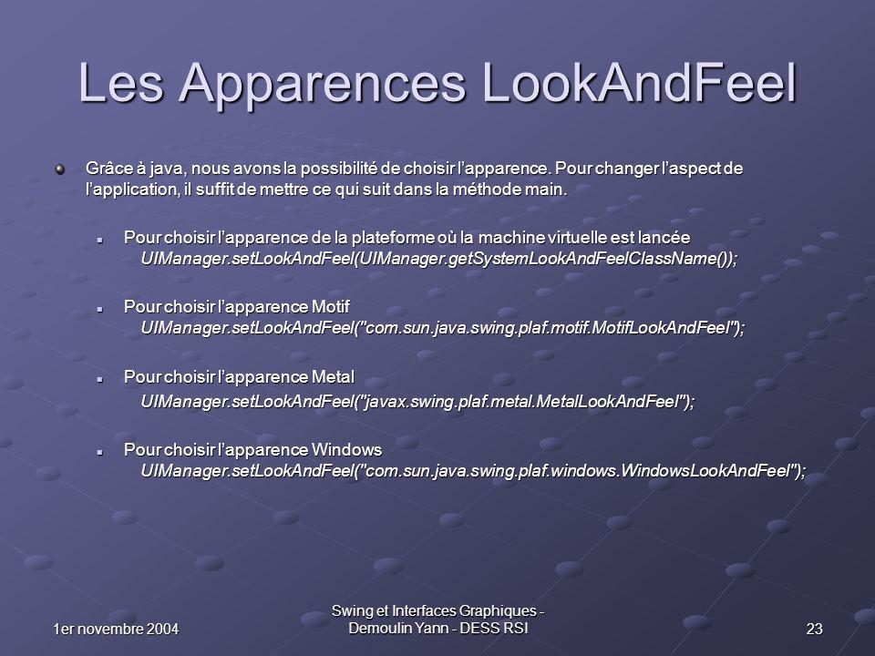 231er novembre 2004 Swing et Interfaces Graphiques - Demoulin Yann - DESS RSI Les Apparences LookAndFeel Grâce à java, nous avons la possibilité de ch