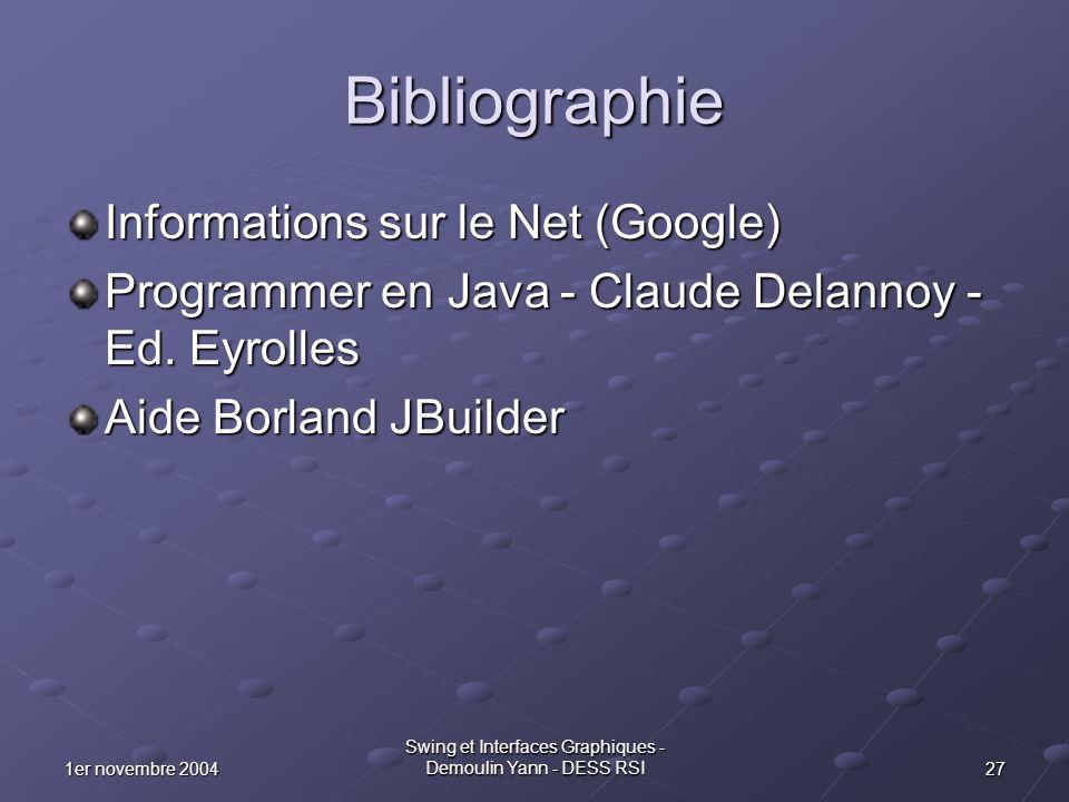 271er novembre 2004 Swing et Interfaces Graphiques - Demoulin Yann - DESS RSI Bibliographie Informations sur le Net (Google) Programmer en Java - Clau