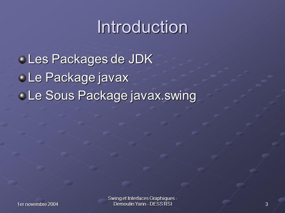 41er novembre 2004 Swing et Interfaces Graphiques - Demoulin Yann - DESS RSI Les Packages Standard de JDK 1.4 audio COM & com fontsimagesjavajava2dJavaxlaunchermodelsnetscapeorgsoundssunsunwtemplates