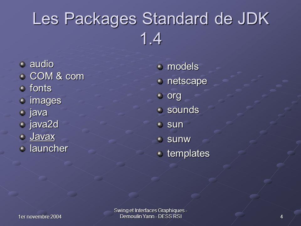 51er novembre 2004 Swing et Interfaces Graphiques - Demoulin Yann - DESS RSI Le Package javax Le Package javax fut inclus dans JDK à partir de la version 1.2 (Java 2) Dans ce package, nous trouvons différents sous packages: accessibilitycryptoimageionamingnetprintrmisecuritysoundsqlswingtransactionxml