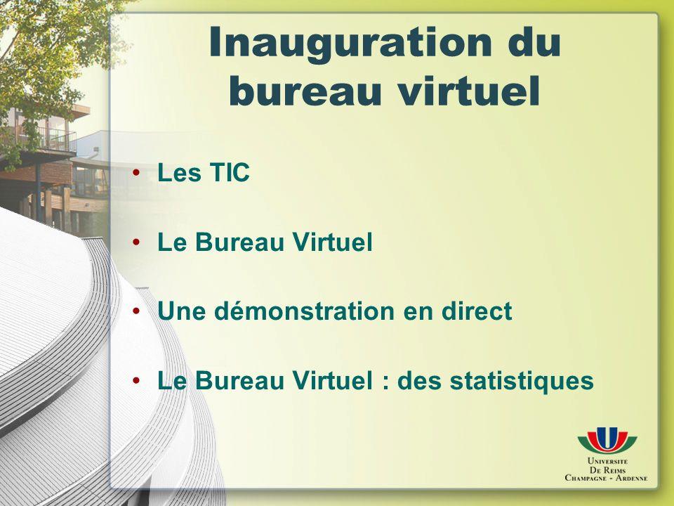 Inauguration du bureau virtuel Les TIC Le Bureau Virtuel Une démonstration en direct Le Bureau Virtuel : des statistiques