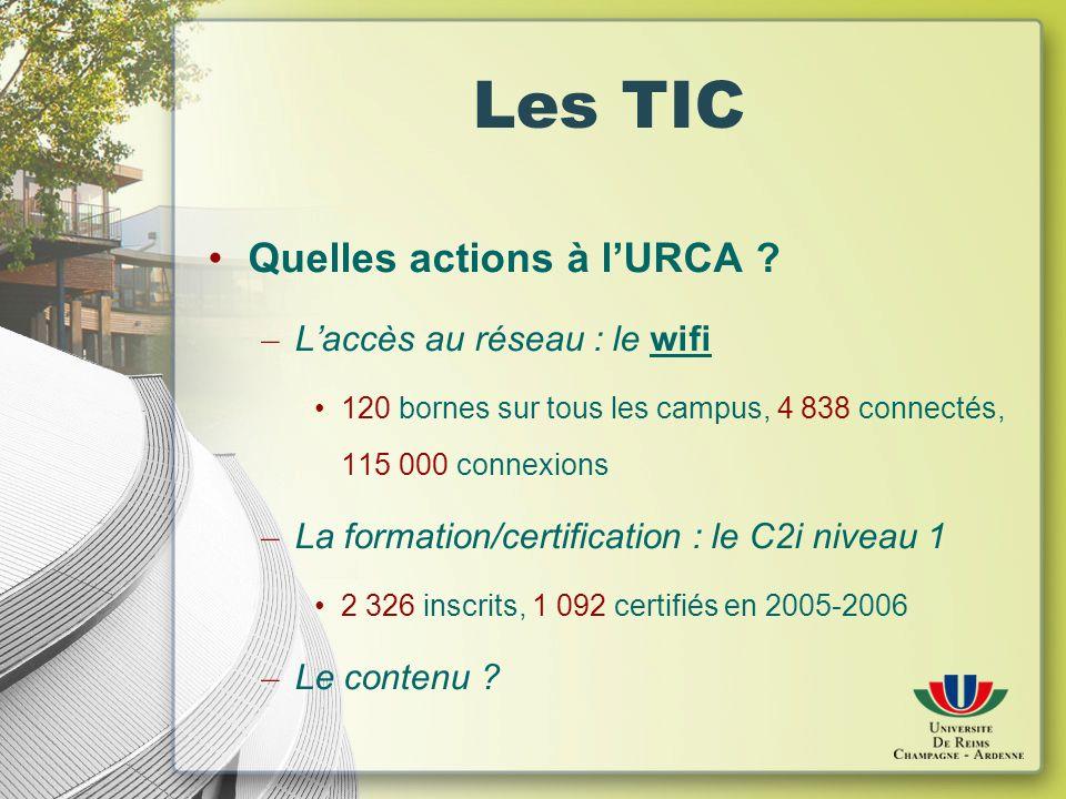 Les TIC Quelles actions à lURCA .