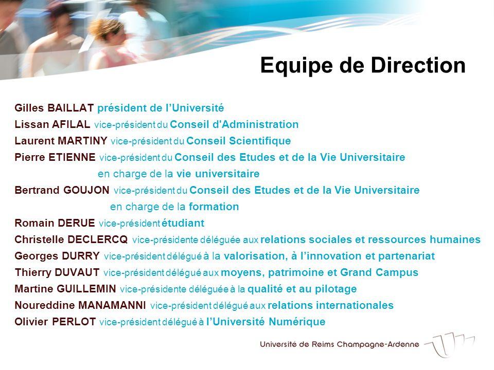 Gilles BAILLAT président de lUniversité Lissan AFILAL vice-président du Conseil d'Administration Laurent MARTINY vice-président du Conseil Scientifiqu