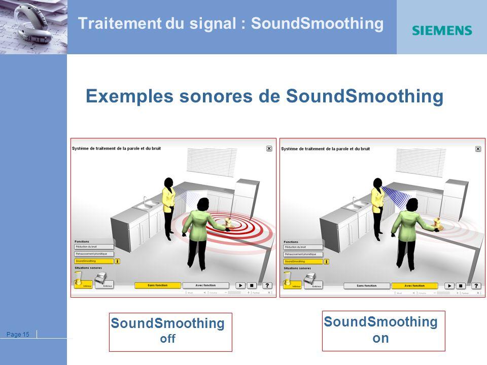 Page 14 AnalyseExtractionRéductionSynthèse Vocal Détection Temps de traitement ultra court : << 1 ms Traitement du signal : SoundSmoothing