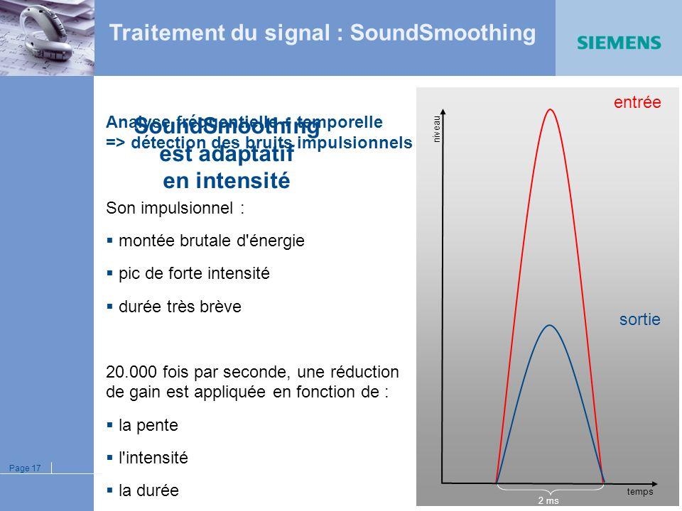 Page 16 Analyse fréquentielle + temporelle => détection des bruits impulsionnels Son impulsionnel : montée brutale d'énergie pic de forte intensité du