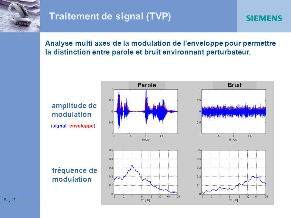 Page 6 Nouvelles caractéristiques techniques Traitement de la Parole et du Bruit Débruiteur (TVP) si bruit seul Emergence phonétique (ERP) si parole +
