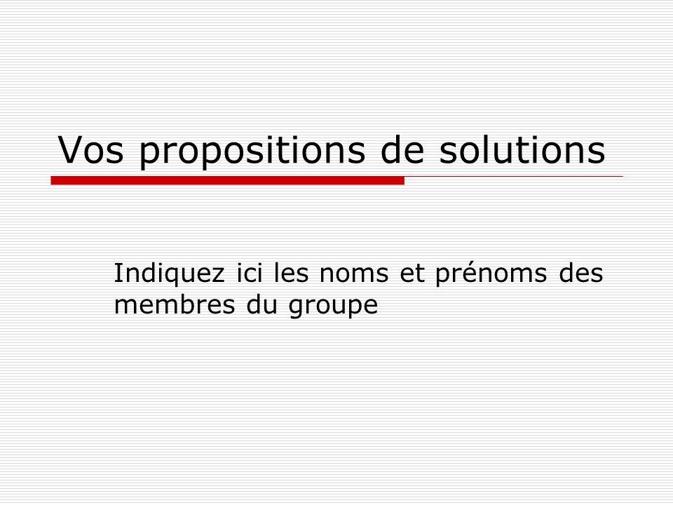 Vos propositions de solutions Indiquez ici les noms et prénoms des membres du groupe