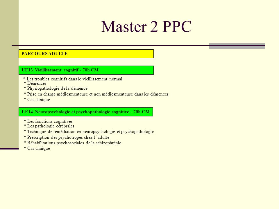 Master 2 PPC PARCOURS ADULTE UE13.