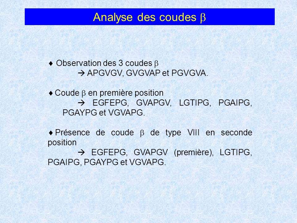 Analyse des coudes Observation des 3 coudes APGVGV, GVGVAP et PGVGVA. Coude en première position EGFEPG, GVAPGV, LGTIPG, PGAIPG, PGAYPG et VGVAPG. Pré