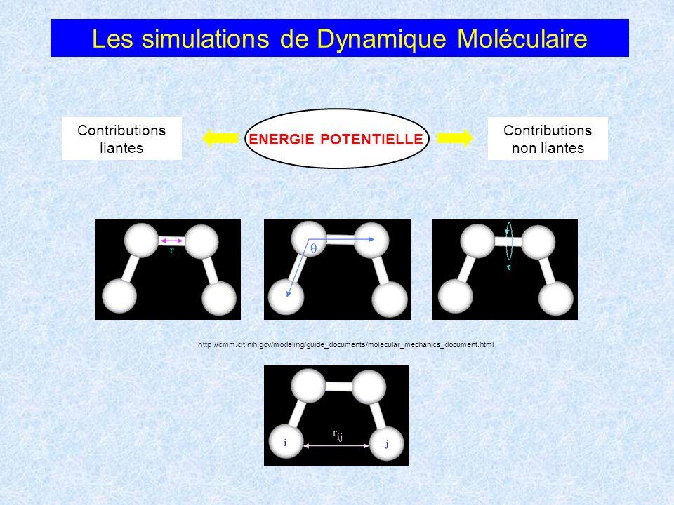 Les simulations de Dynamique Moléculaire http://cmm.cit.nih.gov/modeling/guide_documents/molecular_mechanics_document.html ENERGIE POTENTIELLE Contrib