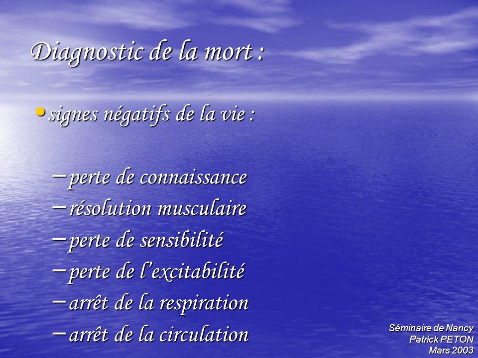Séminaire de Nancy Patrick PETON Mars 2003 Diagnostic de la mort : signes négatifs de la vie : signes négatifs de la vie : – perte de connaissance – r
