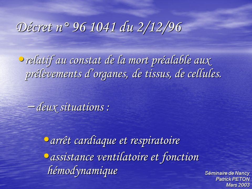 Séminaire de Nancy Patrick PETON Mars 2003 Décret n° 96 1041 du 2/12/96 relatif au constat de la mort préalable aux prélèvements dorganes, de tissus,