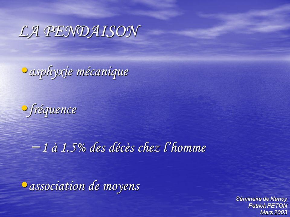 Séminaire de Nancy Patrick PETON Mars 2003 LA PENDAISON asphyxie mécanique asphyxie mécanique fréquence fréquence – 1 à 1.5% des décès chez lhomme ass