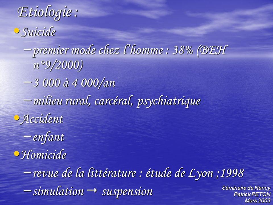 Séminaire de Nancy Patrick PETON Mars 2003 Etiologie : Suicide Suicide – premier mode chez lhomme : 38% (BEH n°9/2000) – 3 000 à 4 000/an – milieu rur