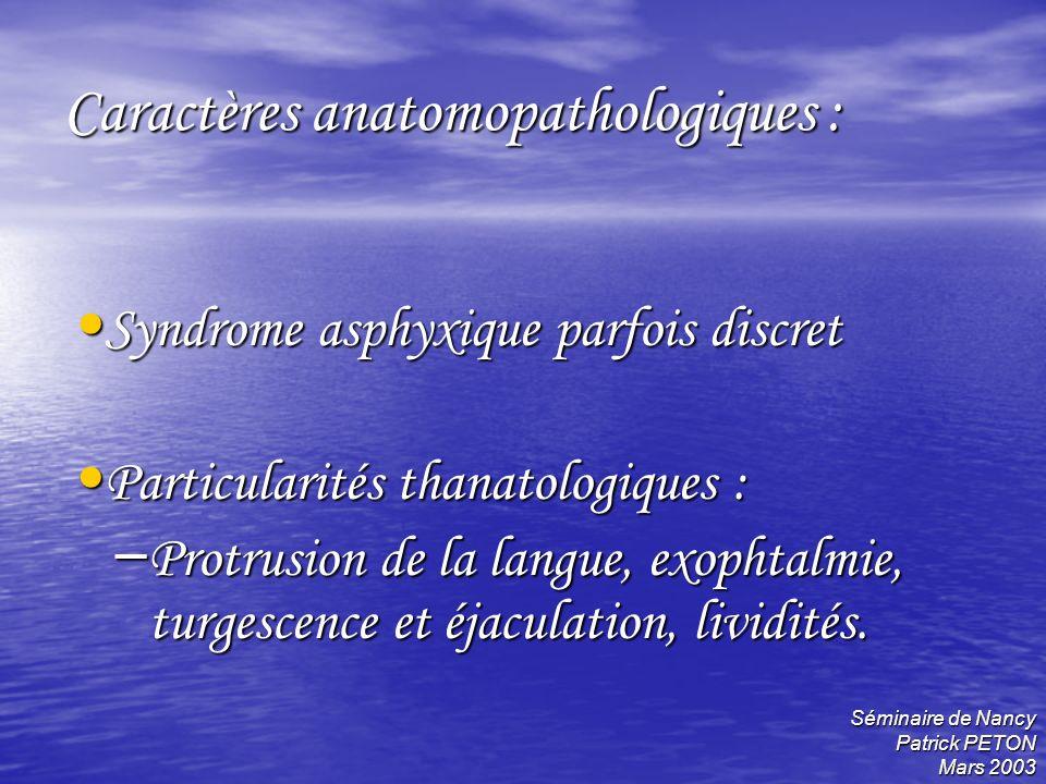 Séminaire de Nancy Patrick PETON Mars 2003 Caractères anatomopathologiques : Syndrome asphyxique parfois discret Syndrome asphyxique parfois discret P
