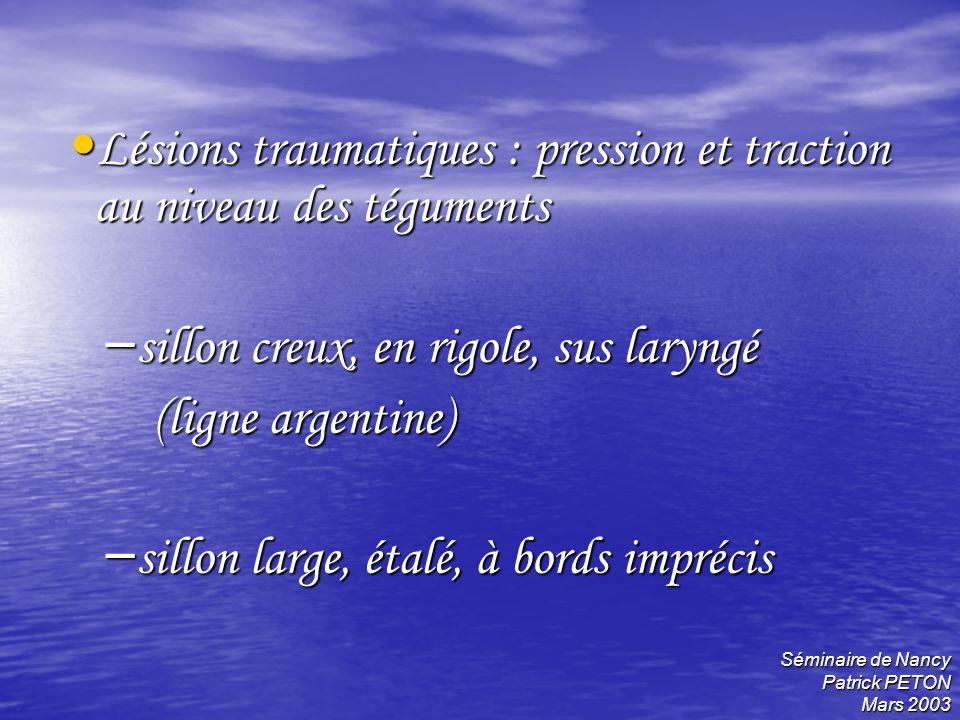Séminaire de Nancy Patrick PETON Mars 2003 Lésions traumatiques : pression et traction au niveau des téguments Lésions traumatiques : pression et trac