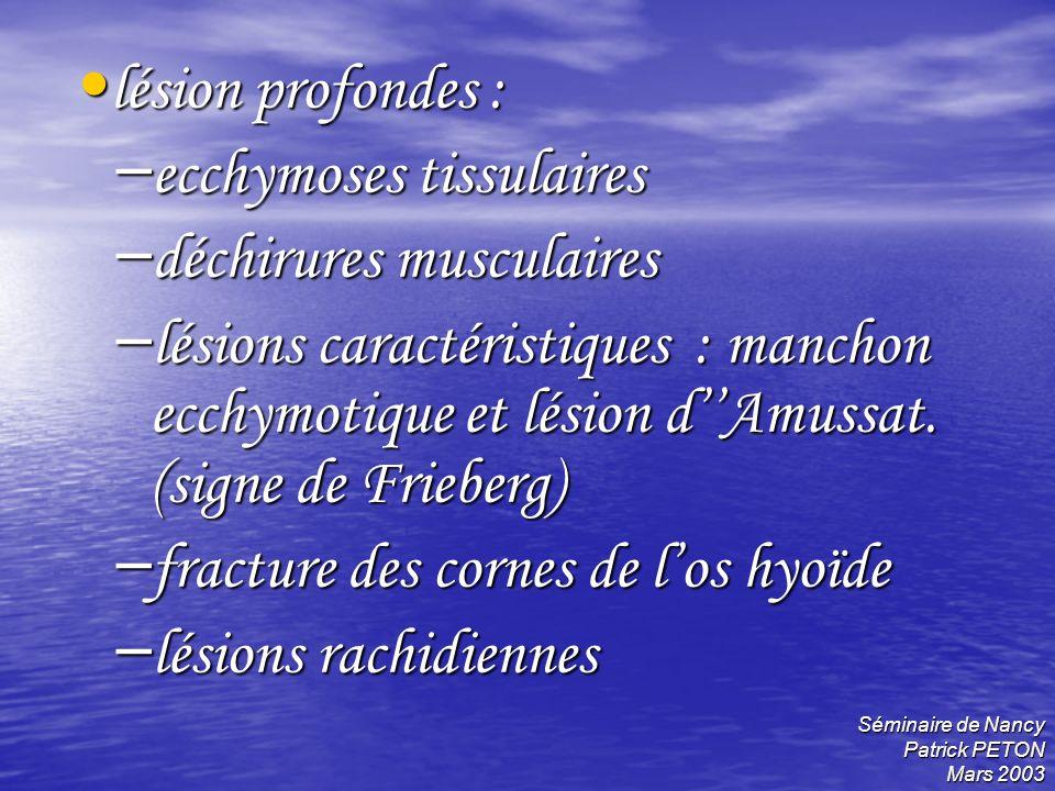 Séminaire de Nancy Patrick PETON Mars 2003 lésion profondes : lésion profondes : – ecchymoses tissulaires – déchirures musculaires – lésions caractéri