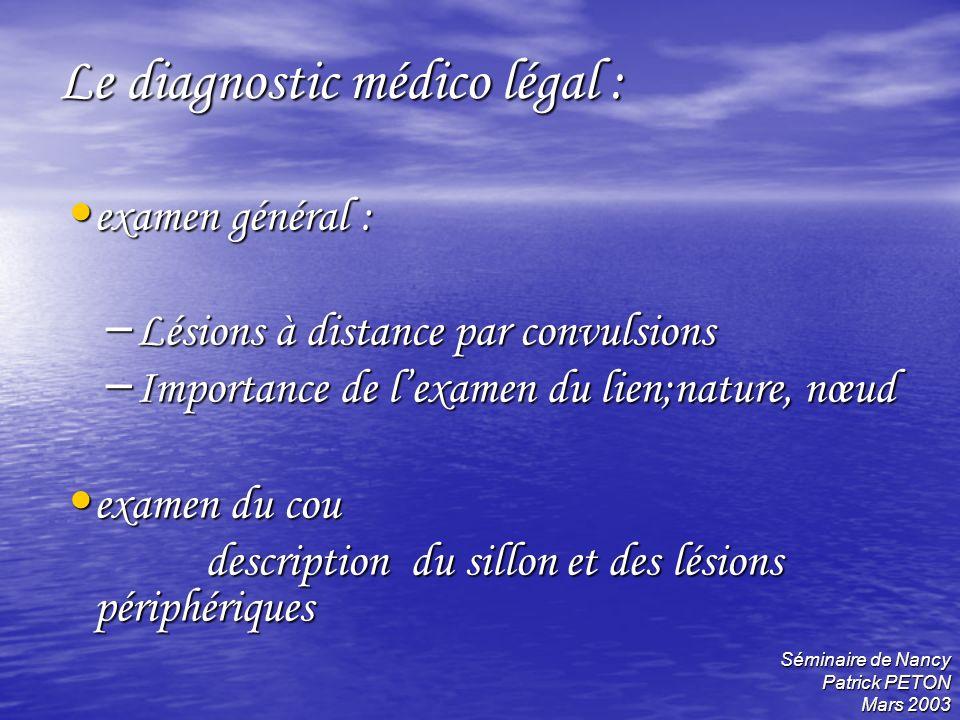 Séminaire de Nancy Patrick PETON Mars 2003 Le diagnostic médico légal : examen général : examen général : – Lésions à distance par convulsions – Impor