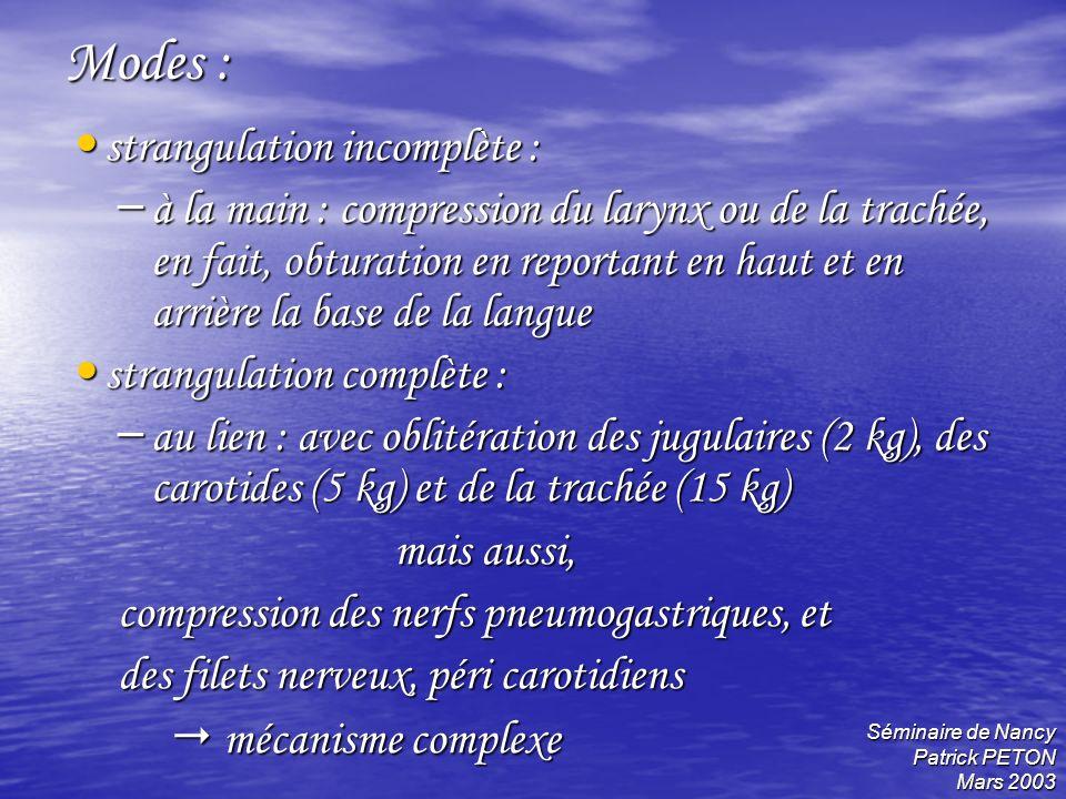 Séminaire de Nancy Patrick PETON Mars 2003 Modes : strangulation incomplète : strangulation incomplète : – à la main : compression du larynx ou de la