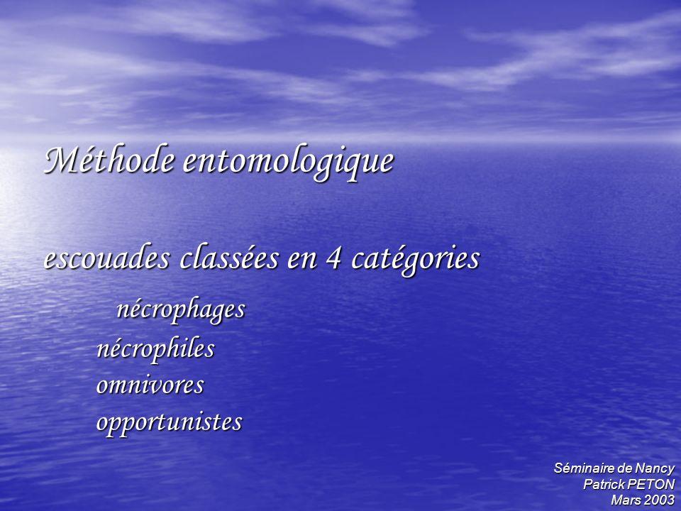 Séminaire de Nancy Patrick PETON Mars 2003 Méthode entomologique escouades classées en 4 catégories nécrophages nécrophiles omnivores opportunistes