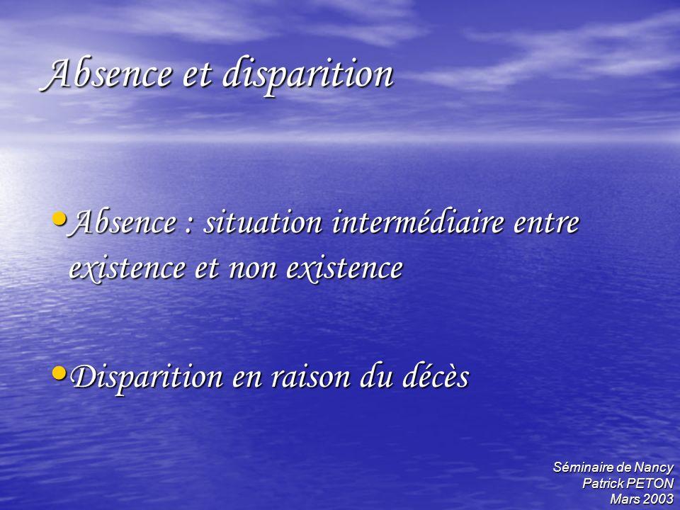 Séminaire de Nancy Patrick PETON Mars 2003 Absence et disparition Absence : situation intermédiaire entre existence et non existence Absence : situati