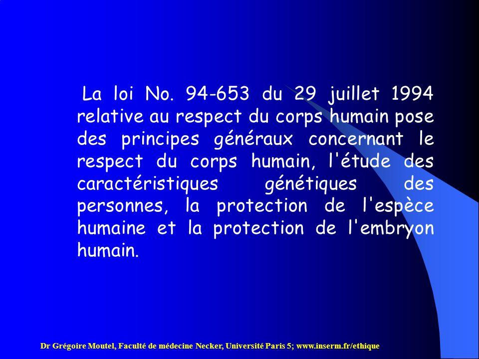 Dr Grégoire Moutel, Faculté de médecine Necker, Université Paris 5; www.inserm.fr/ethique Prélèvement dorganes sur une personne vivante (suite) Ne peut être effectué que dans lintérêt thérapeutique direct du receveur.