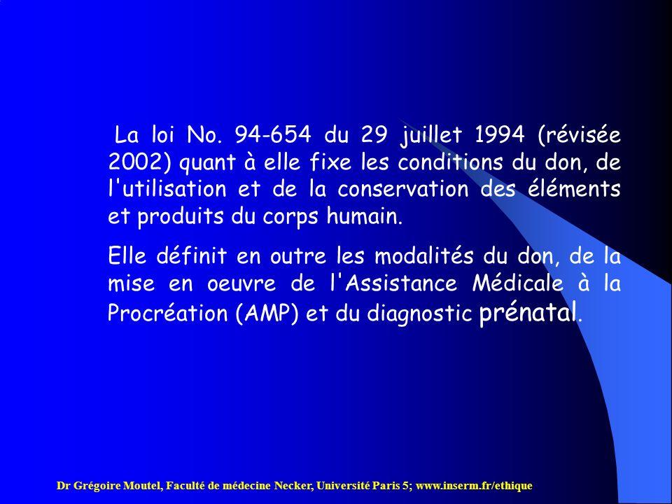 Dr Grégoire Moutel, Faculté de médecine Necker, Université Paris 5; www.inserm.fr/ethique (III) Loi du 1er Juillet 1994 (n° 94-548), révisée 2002, relative au traitement des données nominatives ayant pour fin la recherche, modifiant la loi du 6 janvier 1978 relative à linformatique, aux fichiers et aux libertés.